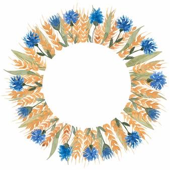 Ręcznie rysowane akwarela żółte kłosy pszenicy i wieniec chabrowy w okrągły kształt ilustracji. wieniec kwiatów / rama na ślub, zaproszenie urodzinowe.