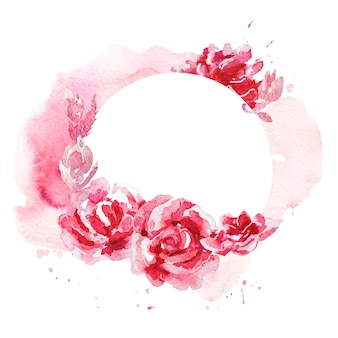 Ręcznie rysowane artystyczna rama akwarela wykonana z elementów kwiatowych i roślinnych na białym tle.