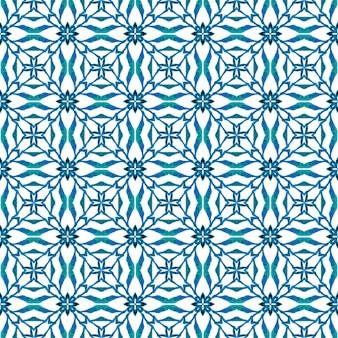 Ręcznie rysowane bezszwowe granica zielona mozaika. niebieski odważny letni szyk w stylu boho. wzór mozaiki. tekstylny, przyjemny nadruk, tkanina na stroje kąpielowe, tapeta, opakowanie.