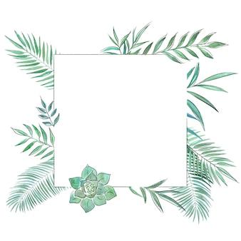 Ręcznie rysowane botaniczne ozdobne ramki