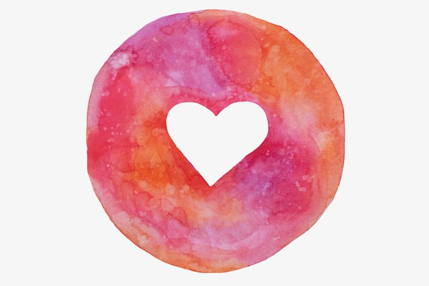 Ręcznie rysowane koło z pustym sercem w odcieniach różu, fioletu, walentynki.