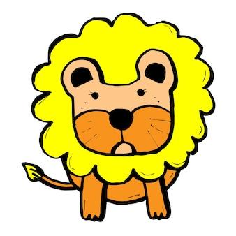 Ręcznie rysowane kreskówka lew, komiks charector
