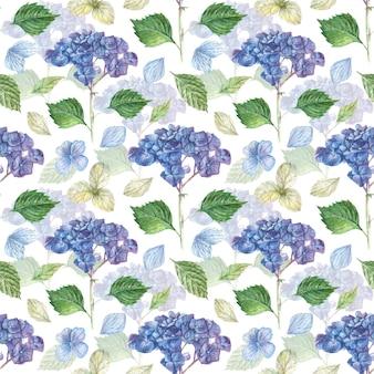 Ręcznie rysowane kwiatowy wzór z niebieskimi gałęziami hortensji i białymi, niebieskimi płatkami