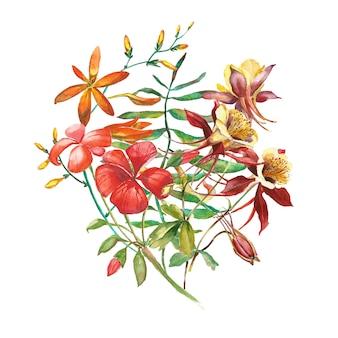 Ręcznie rysowane kwiaty bukiet ilustracje akwarela.