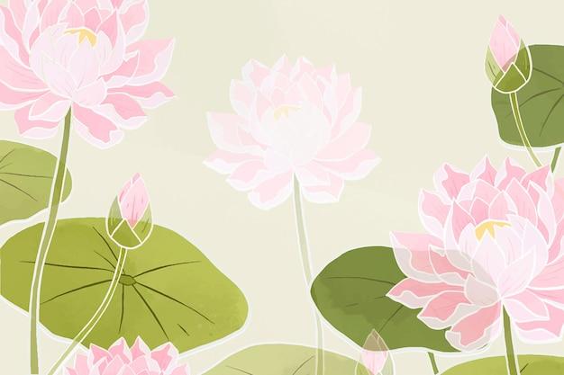 Ręcznie rysowane lilia wodna kwiatowy tło floral