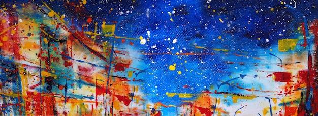 Ręcznie rysowane malarstwo abstrakcyjne sztuka panorama tło kolory tekstury projekt ilustracja