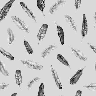 Ręcznie rysowane moda wzór z rocznika tle piór