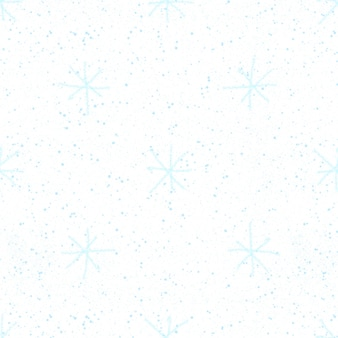 Ręcznie rysowane niebieskie płatki śniegu boże narodzenie bezszwowe wzór. subtelne latające płatki śniegu na białym tle. śliczne nakładki na śnieg handdrawn kreda. atrakcyjna dekoracja świąteczna.