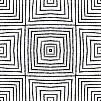Ręcznie rysowane paski wzór. czarne tło symetryczne kalejdoskop. tekstylny gotowy wspaniały nadruk, tkanina na stroje kąpielowe, tapeta, opakowanie. powtarzające się paski ręcznie rysowane kafelek.