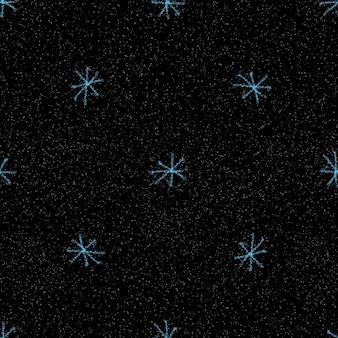 Ręcznie rysowane płatki śniegu boże narodzenie bezszwowe wzór. subtelne latające płatki śniegu na tle płatki śniegu kredą. atrakcyjna nakładka na śnieg ręcznie rysowane kredą. wspaniała dekoracja świąteczna.