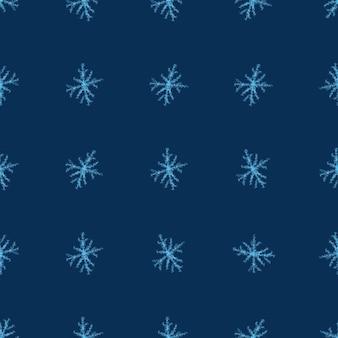 Ręcznie rysowane płatki śniegu boże narodzenie bezszwowe wzór. subtelne latające płatki śniegu na tle płatki śniegu kredą. godna podziwu kreda handdrawn nakładka na śnieg. urocza dekoracja świąteczna.