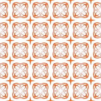 Ręcznie rysowane projekt w paski. pomarańczowy wspaniały boho chic letni projekt. gotowy tekstylny cenny nadruk, tkanina na stroje kąpielowe, tapeta, opakowanie. powtarzające się paski ręcznie rysowane obramowanie.
