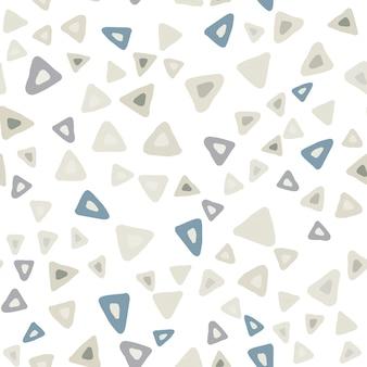 Ręcznie rysowane prosty trójkąt wzór na białym tle. powtarzające się chaotyczne kształty tło. ilustracja wektorowa