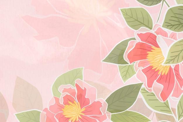 Ręcznie rysowane różowe tło kwiatowy