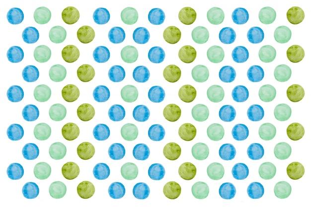 Ręcznie rysowane tekstury akwarela okrągłe koło niebieski i zielony