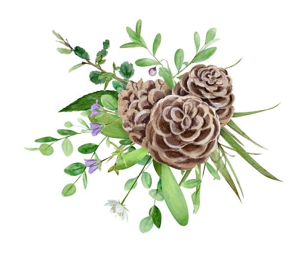 Ręcznie rysunek akwarela leśny bukiet dzikich kwiatów, liści i gałęzi