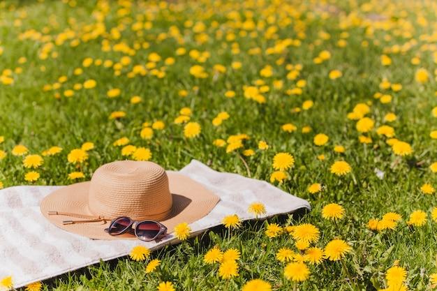 Ręcznik z kapeluszem i okulary na polu