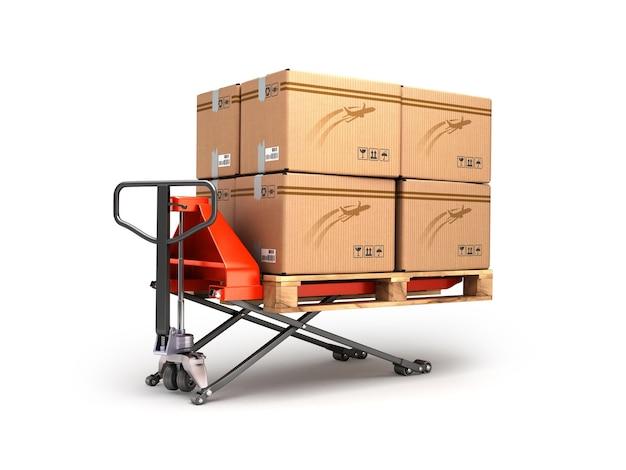 Ręczny wózek paletowy przewozi paletę z pudełkami są izolowane na białym tle
