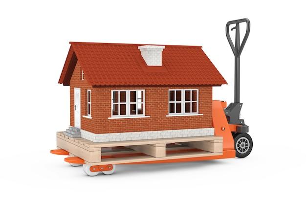 Ręczny wózek paletowy z budynkiem domku nad paletą na białym tle. renderowanie 3d