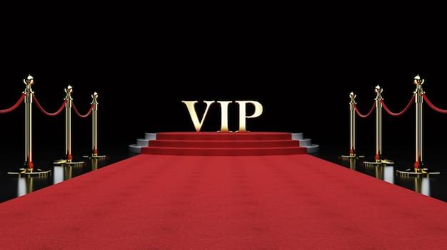 Red event carpet, schody i złota bariera bariera koncepcja sukcesu i triumfu