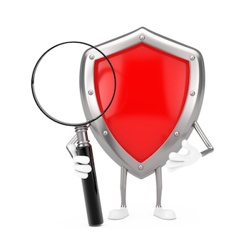 Red metal protection shield charakter maskotka z lupą na białym tle. renderowanie 3d