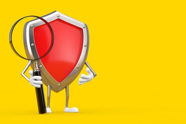Red metal protection shield maskotka charakter z lupą na żółtym tle. renderowanie 3d