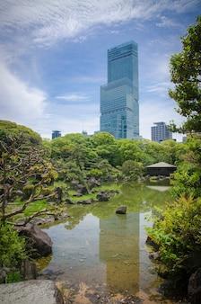 Refleksje na temat wody. ogród w stylu japońskim. osaka