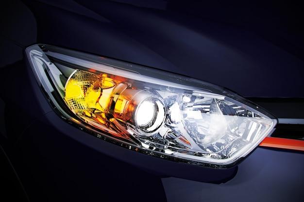 Reflektor samochodowy z miejsca na kopię widok makro zbliżenie nowoczesnego prestiżowego samochodu 3d ilustracji