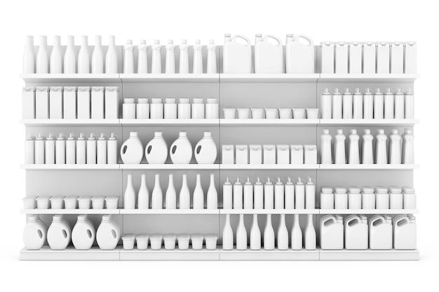 Regał supermarket z pustymi produktami lub towarami w stylu gliny na białym tle. renderowanie 3d.