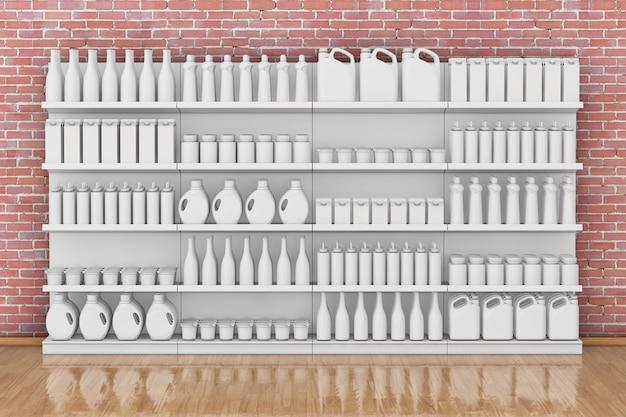 Regał supermarket z pustymi produktami lub towarami w stylu gliny przed ceglaną ścianą. renderowanie 3d.
