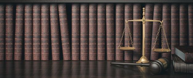Regał z niskim filtrem i półką na książki z drewnianym młotkiem sędziego i złotą skalą, renderowanie 3d