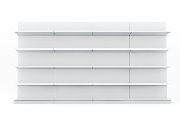 Regały z białego rynku półki przedstawiające produkty na białym tle