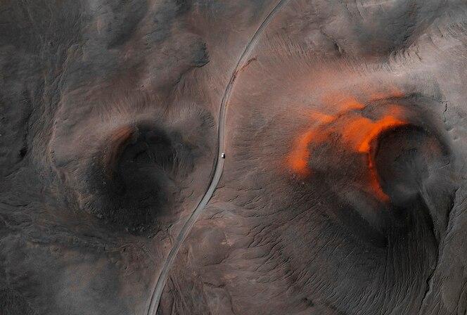 Region wulkaniczny na islandii, widok z lotu ptaka