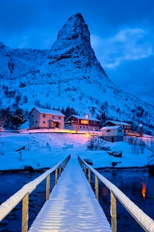 Reine village at night. lofoty, norwegia