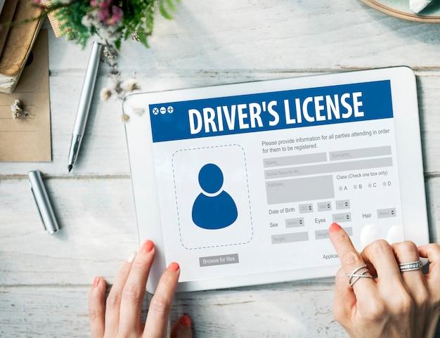 Rejestracja licencji kierowcy aplikacja strona internetowa koncepcja