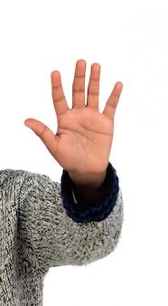 Ręka agrican chłopca pokazano jego pięć palców
