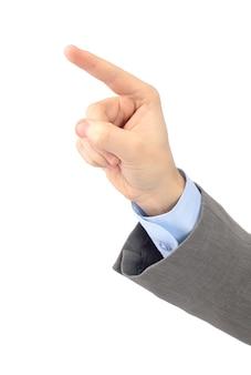 Ręka biurowa wskazuje na białym tle