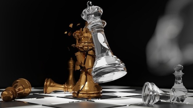 Ręka biznesmen przenoszenie figury szachowej w konkurencji