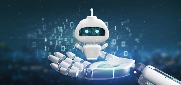 Ręka cyborga trzymająca chatbota z kodem binarnym