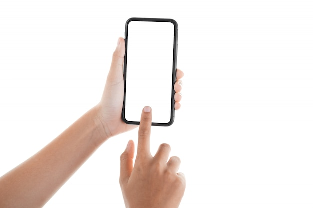 Ręka dotyka ekranu smartfona