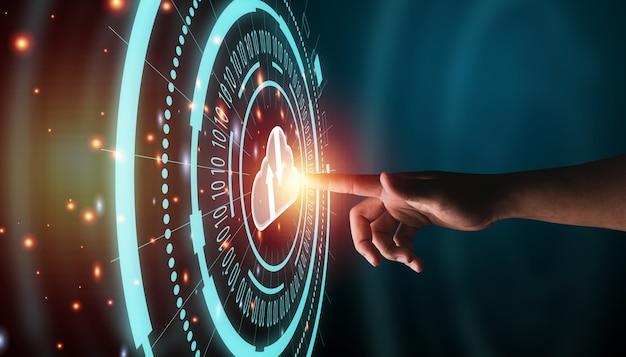 Ręka dotyka grafiki cyfrowej informacji z ikonami cloud computing i technologii.