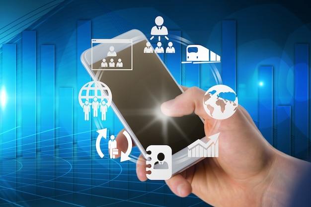 Ręka dotyka mobilne z aplikacjami