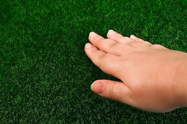 Ręka dotyka trawnika. pojęcie dotyk, dotyk, uczucia.