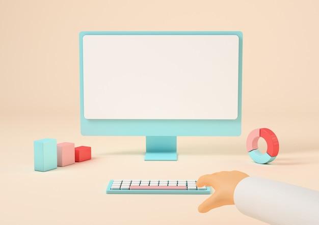 Ręka dotykająca klawiatury komputera, ekranu z miejscem na kopię, renderowania 3d