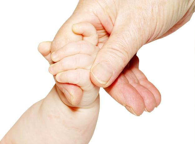 Ręka dziecka na białym tle