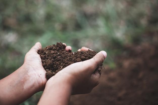 Ręka dziecka trzymającego ziemię w kształcie serca przygotowuje się do sadzenia drzewa