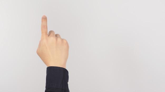 Ręka jest zsunąć telefon komórkowy lub nacisnąć przycisk gest białe tło.