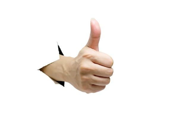 Ręka kciuk i jak na białym tle
