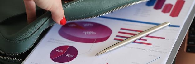 Ręka kobiety wyciąga informacje biznesowe z torby z dokumentami z komercyjnymi wykresami