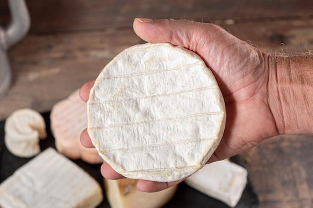 Ręka mężczyzny gospodarstwa camembert, francuski ser normandii